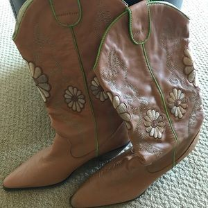 Light Brown Embroidered Cowboy Boots
